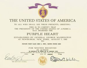 Purple Heart certificate given during the Korean War